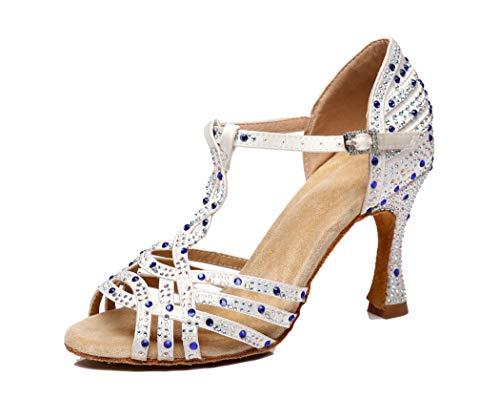 MGM-Joymod Damen Comfort T-Strap Cut-Out Flared Heel Strass Salsa Tango Latein Charakter Tanzschuhe Hochzeit Party Sandalen, Weiß - White/9cm Heel - Größe: 40 EU