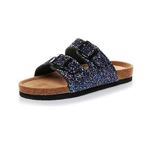 Sandalias de baño para mujer, zapatillas de playa ligeras para piscina, verano brillante, hebilla doble, moda al aire libre, zapatos deslizantes para mujer, zapatos sin cordones