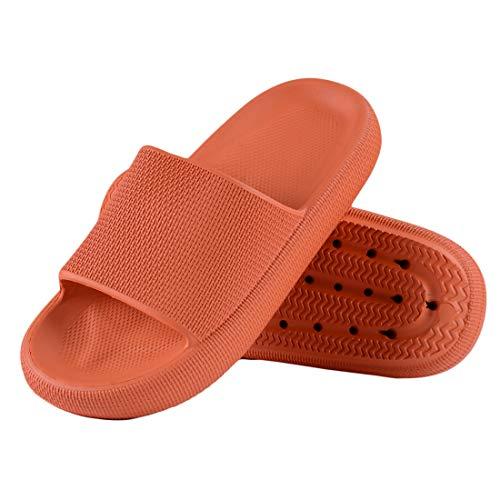 Menore Damen/Herren Hausschuhe Slip On Pantoffeln rutschfeste Badschuhe Indoor Outdoor Weiche Schaumsohle-Karamellfarbe-39/40 EU