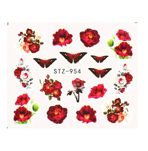 JSIYU Stickers Ongle Série de Fleurs Nail Water Decal Sticker Floral Sakura Daisy Rose Leaf Transfer Slider Foil Nail Decoration-Y03