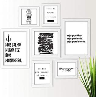 Kit de Quadros Decorativos 7 Peças Frases Motivacionais Los Quadros Branco