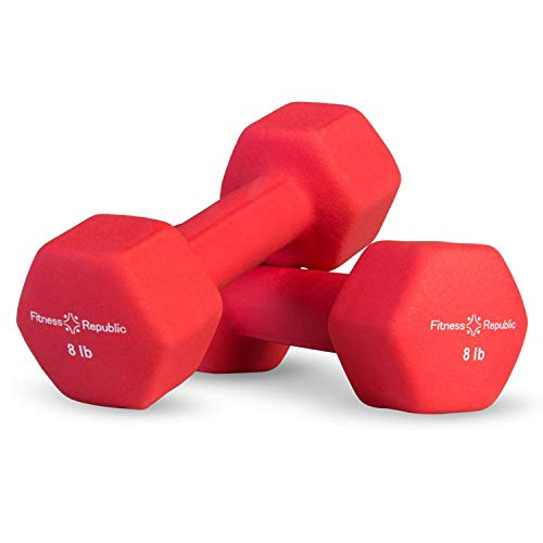 Fitness Republic Neoprene Dumbbell Set of 2, 8 Pounds Set Non-Slip, Hex Shape, Free weights set for Muscle Toning, Strength Building, Weight Loss, Portable Weights for Home Gym Hand Weight, 8lb Red
