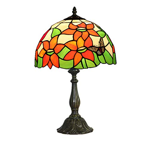 Baroco Pastoral Vintage de 12 Pulgadas - Flores de Cristal Manchado Tiffany Lámpara de Mesa Dormitorio Lampe Lámpara de Noche