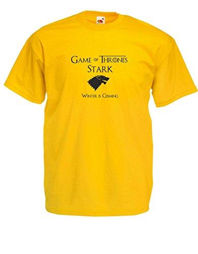 Shirtzshop House Stark Winter is Coming Logo - Camiseta de manga corta, diseño de Juego de Tronos amarillo XXL