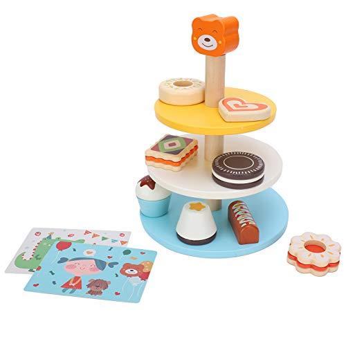 logozoee Juguete para el té de la Tarde, Respetuoso con el Medio Ambiente, Juguete de Torre para Tartas sin daños, Colorido para bebés, niños, niños de 2 años o más(English Cake Tower)