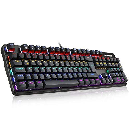 TECKNET Mechanische Gaming Tastatur, 105-Tasten (Deutsche Layout) Blaue Switch LED Beleuchtete Mechanische Keyboard Voll Anti-Ghosting Mechanisch Tastatur für Schreibkraft und PC Gamer