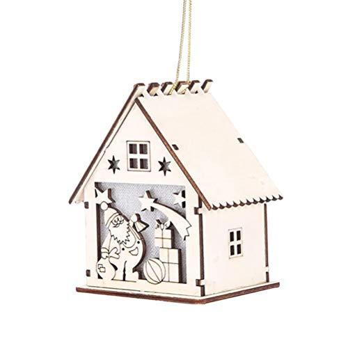 NICEXMAS Ciondolo a Forma di Albero di Natale in Legno Illuminato Cabin casa per Natale Anno Nuovo Decorazione–Burlywood (Babbo Natale)