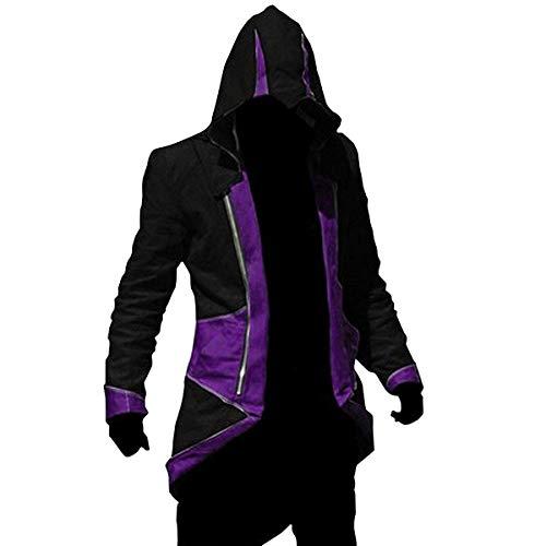Cos2be Hoodie Jacket Coat (Black&Purple,Men-S)