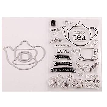 3.9 by 5.9 Inches Teapot Cup Letters Flower Stamps and Die Set for Scrapbooking Card Making Christmas Stamps and Dies  T1541