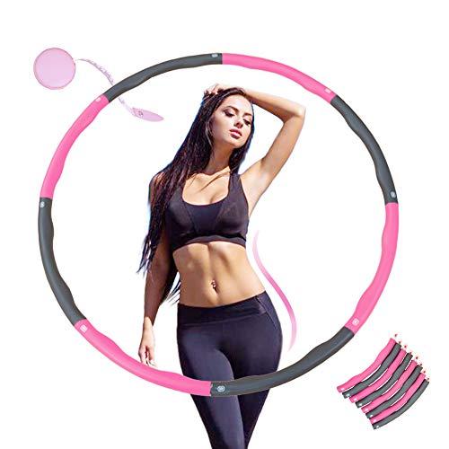 KALINCO Fitness Reifen Hula Hoop Reifen zur Gewichtsreduktion Hoola Hup Reifen mit Mini Bandmaß (4 Knoten Rosa + Grau)