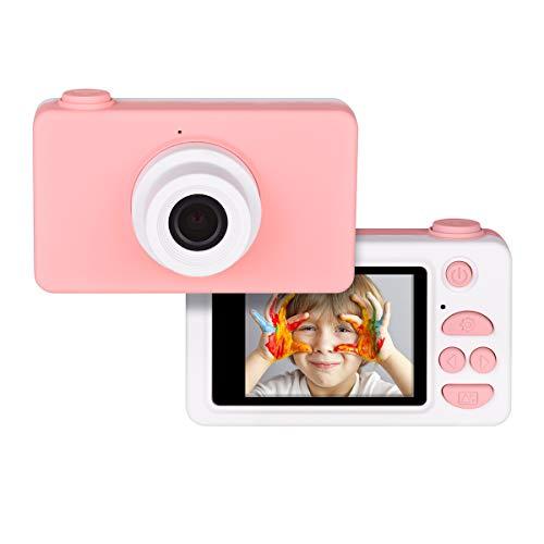 Tyhbelle Digitale Kamera für Kinder Robuste HD Kinderkamera 2,0 Zoll Farbdisplay 24 Megapixel 1080p Videokamera mit Aufklebern und USB Kabel (Pink)