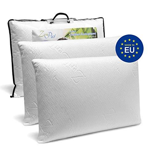 ZenPur Oreiller Memoire Forme Cervicales Douloureuses Fabriqué en Europe - Certification Oeko TEX - Oreiller Anti Ronflement, Orthopédique et Ergonomique (60x40cm-Double)
