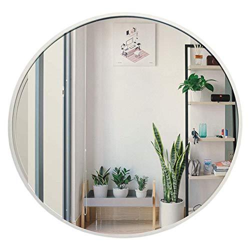 Muzilife Runder Spiegel 40 cm mit Silber Metallrahmen Glas Wandspiegel mit Halterung zum Aufhängen in Wohn- und Badezimmer