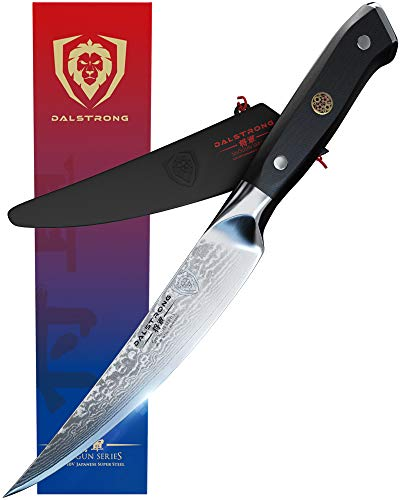 DALSTRONG Premium Filetiermesser mit Klingenschutz - Damastmesser - nach Kanadischem Design aus AUS-10V japanischem Damaskus - 15 cm - Shogun Series