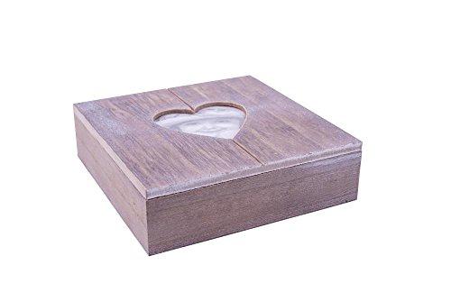 Rivanto® Holz-Geschenkbox mit Herz-Bilderrahmen, Fotobox, Holzbox,Holzschatulle, Holzschachtel, Schmuckkästchen mit Herzmotiv, 20 x 20 x 6 cm