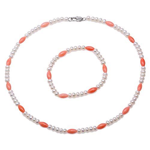 JYX Perlen- und Korallen-Kette, Armband, handgefertigt, einreihig, elegant, 4,5-5 mm, natürliche Süßwasser-Zuchtperle und rote Koralle, Halsketten-Armband für Damen, 44,5 cm
