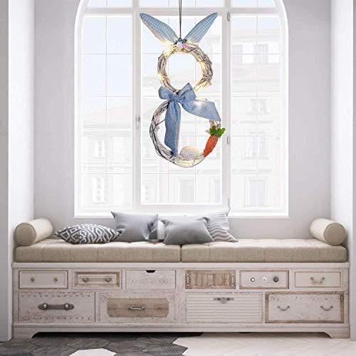JoyTplay Couronne de Pâques - Décoration extérieure à suspendre - Lapin à paillettes - Faite à la main - Décoration de Pâques - Bleu