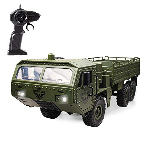XINGRUI RC Military Truck JJRC Q75 OffRoad Remote Control Car 24Ghz 4WD 1:18 Scale Vehicles Toy for 891011121314 Year Old Kids Children Boy Gift