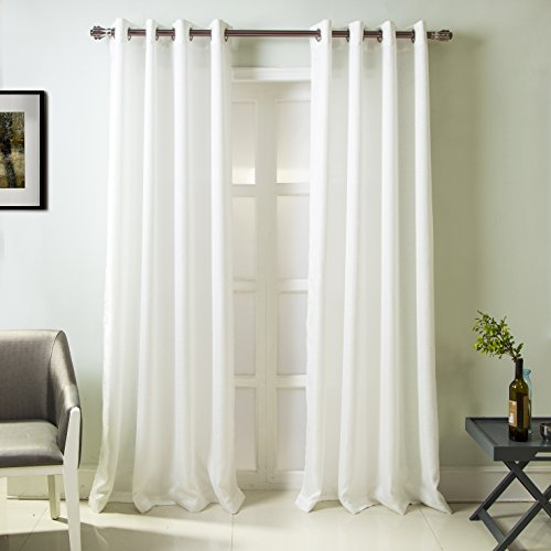 """RT Designers Collection, White Madrid Textured 54 x 84 in. Grommet Single Curtain Panel, 54"""" x 84"""""""