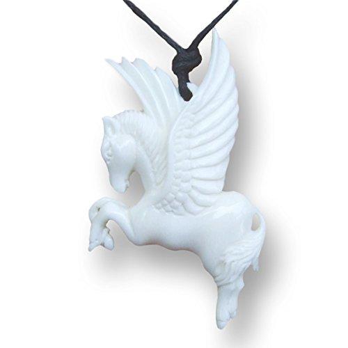 ISLAND PIERCINGS Amulett Anhänger Handarbeit Pegasus aus Knochen inkl. Band PB151