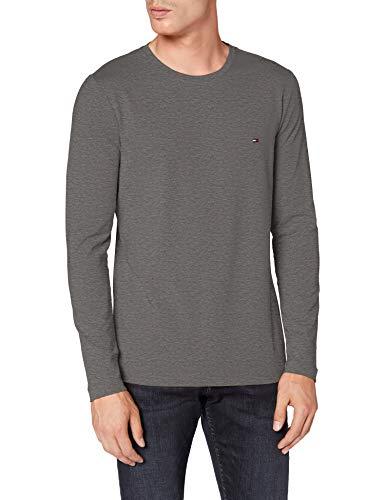 Tommy Hilfiger Stretch Slim Fit Long Sleeve tee Camiseta de Manga Larga, Gris (Dark Grey Htr), XS para Hombre