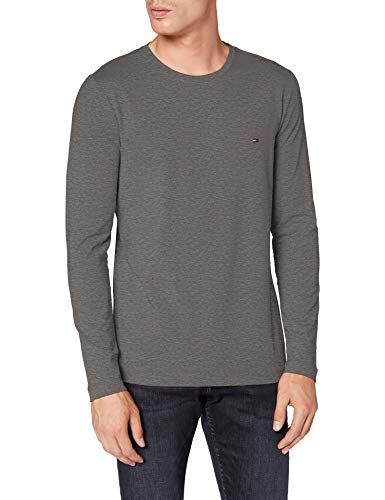Tommy Hilfiger Herren Stretch Slim Fit Long Sleeve Tee Hemd, Dark Grey Htr, L