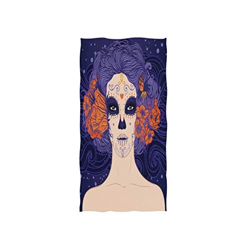 MNSRUU Mexikanisches Sugar Skull Girl Dia De Los Muertos Weiches Badetuch für das Hotel, Spa, Hand, Fitnessstudio, Sport, 76 x 38 cm