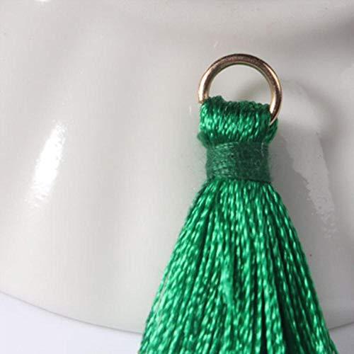12 stks/partij 2 cm mini polyester kwasten kleine kwasten voor sieraden maken levert armband ketting bevindingen & componenten materiaal, 11 groen