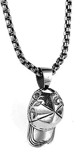 Zaaqio Koreanische Edelstahl Halskette Spike Cap Halskette Männer Zubehör Baseball Cap Titan Stahl Anhänger Halskette Geschenk für Frauen Männer Geschenke