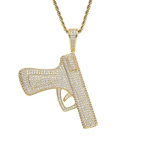 Accesorio de hip hop en piedra de mierda Bling Ice Out CS Go CSGO Big Automatic Gun Gun Colgantes Collar para hombres Joyería Rapper-gold_24 pulgadas