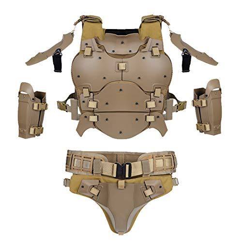 PARIO WST Taktische Weste Molle Rüstungs Set für Airsoft CS Nerf Outdoor, Ellenbogenschützer Taillensiegel Einstellbar