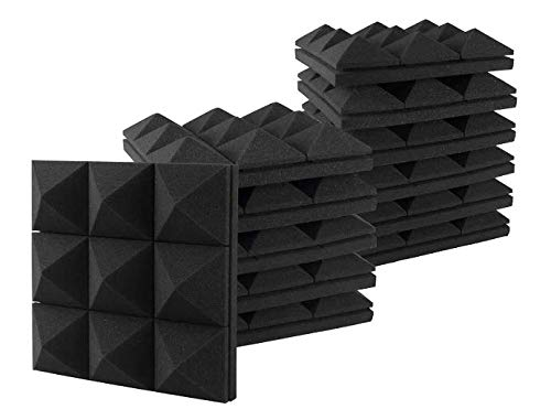 "Acoustic Foam Panels, Studio Wedge Tiles, 2.8"" X 12"" X 12"" Acoustic Foam Sound Absorption 3D Pyramid Studio Treatment Wall Panels (24 Pack)"