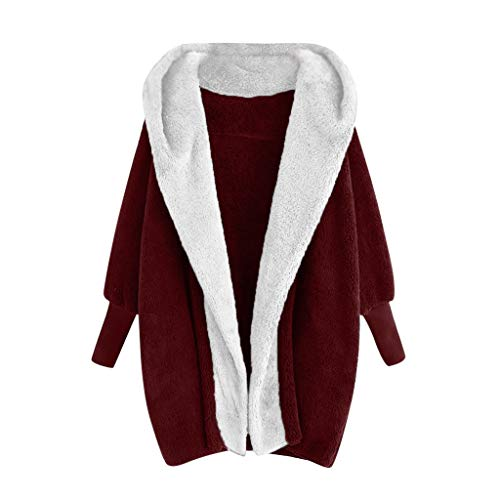 Lulupi Mantel Damen Winter Fleecemantel Plüschjacke mit Kapuze Warm Mode Winterjacke Teddy-Fleece Elegant Cardigan Jacke Parka Coats