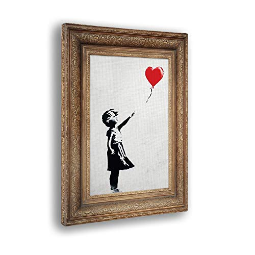 Cuadro ya Enmarcado - Impresion en Lienzo - Banksy - Marco de niña Globo - Pinturas Modernas en Lienzo o plexiglás para decoración casa diseño - Cocina - Varios Tamaños XXL - 50x70 cm
