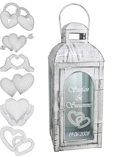 Laterne Rustic weiß 56,5 cm mit 3D Motiv personalisiert shabbychic, Hochzeitslaterne Windlicht Dekoration