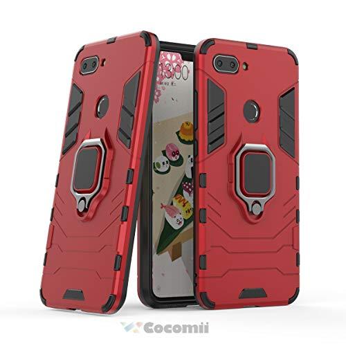 Cocomii Black Panther Armor Xiaomi Mi 8 Lite/Mi 8 Youth/Mi 8X Hülle, Schlank Matte Vertikaler und Horizontaler Ständer Ringgriff Case Bumper Cover Schutzhülle for Xiaomi Mi 8 Lite/Mi 8 Youth/Mi 8X (Red)