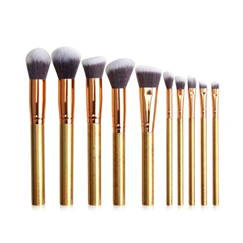 FOLVXY Pinceau de Maquillage Professionnel 10pcs, Poudre Correcteur Fard à paupières Sourcils Maquillage Pinceau et Doux Soies de Nylon poignée en Plastique, adapté à Tous,d'or