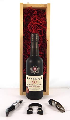 Taylor Fladgate 10 year old Tawny Port (37.5cls) 2011 in a wooden gift box en una caja de madera