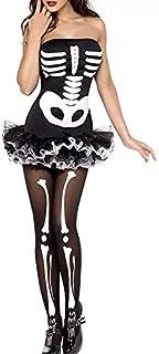 1Sexy Halloween Scheletro Costume Donne Adulte Spaventoso Cosplay Tulle Mini Abito Breve Fantasia Terrore Vestito Nero per...