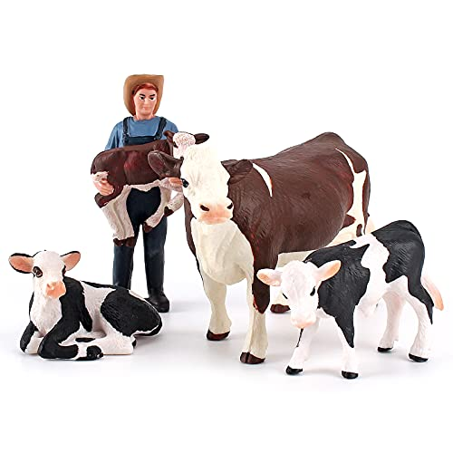 Realistic 4 PCS Cows Farm Animal Set Simmental Cow Holstein Calf Lying Calf Cake Topper Farmer Figurines Deco Collection School Gift Toy for Toddlers 5 6 7 8 Years Old
