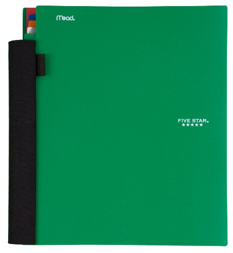 Five Star Advance 5 Subject Notebook, 11 x 10 Inches, 200 sheets, Green (72817)