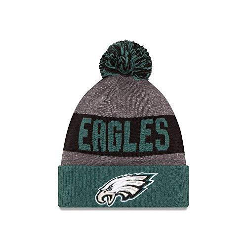 New Era Knit Philadelphia Eagles Green On Field Sideline Sport Knit Winter Stocking Beanie Pom Hat Cap 2015