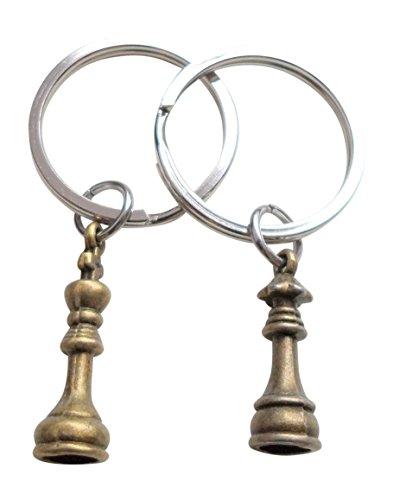 JewelryEveryday - Juego de llaveros de ajedrez para parejas, tamaño King y Queen, juego de llaveros S, bronce