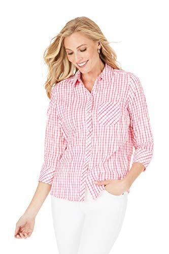 Foxcroft Women's Petite Button Up, Cabana Pink, 12P