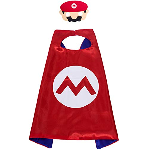 Regilt 6 Pack Super Mario Bros Costumes for Kids, Mario Capes with Masks Dress up Superhero Costumes Halloween Christmas Cosplay Festival Birthday Party Favors for Boys Girls (Mario)
