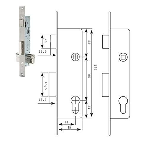 Tesa Assa Abloy 221038SSI Cerradura Monopunto De Palanca Deslizante Para Perfiles Metálicos Inoxidable Entrada 30 mm 2210