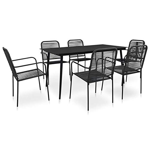 QWSX Simple design 7 Piece Outdoor Dining Set Wooden Garden Sets Black Outdoor Balcony Set for Garden Patio Balcony Tables Durable (Color : Black)