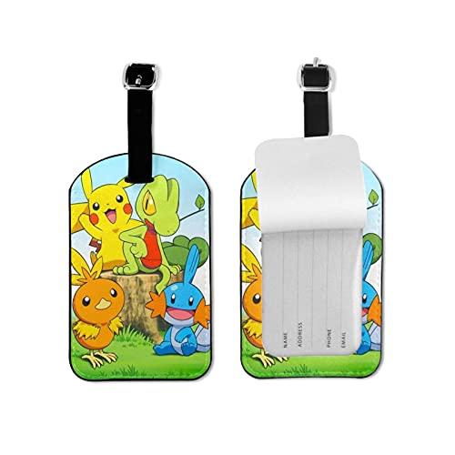 Poke-mon Go - Etiquetas de equipaje para equipaje (microfibra, piel sintética, incluye tarjetero, bolsa de identificación)