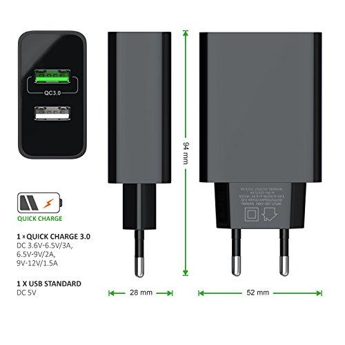 CSL - USB Ladegerät 30W QC 3.0-2 Port Netzteil inkl. Quick-Charging Schnellladefunktion - Smart Charge intelligentes Laden - geeignet für Handys Smartphones Navis Tablets UVM. - schwarz