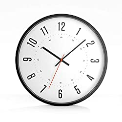 Driini Modern Mid Century Analog Wall Clock (12) – Large, Easy to Read numbers; Premium Metal Frame – Battery Operated with Silent Sweep Hands – Contemporary Decor for Office, Living room, or Kitchen